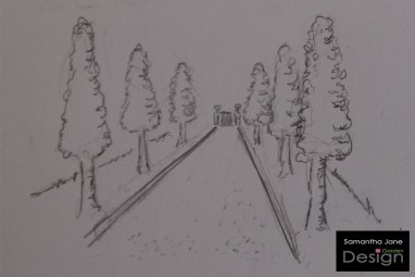 A 3D sketch of a formal tree-lined avenue with a gravel drive