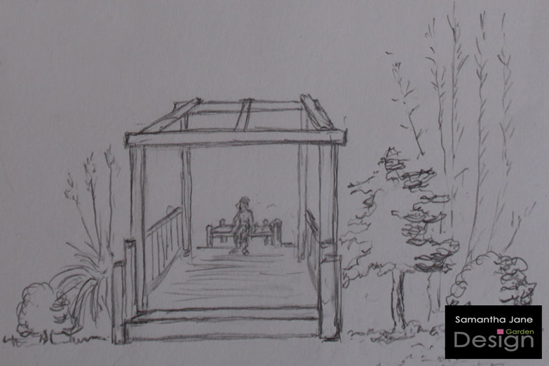 A 3D Sketch Of An Oriental Style Pergola To Give Views Across Different  Areas Of