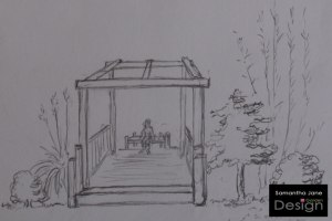 A 3D Sketch of an Oriental-Style Pergola to Give Views Across Different Areas of the Garden