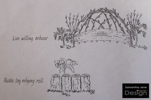 A 3D Sketch showing the Construction Detail of a Living Willow Arbour and Log Edging Used in a Garden Design
