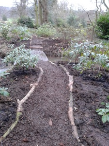 New section of path and sleeper bridge at Rhododendron Dell