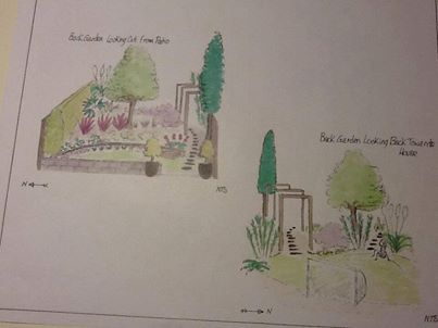 3D sketches of Long thin Garden design